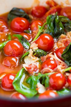 olive oil poached cherry tomato sauce - I love this sauce! Makes for an amazing pasta dinner. All these ingredients are slowly simmered and the flavor it creates is incredible!