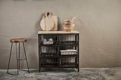 Glass Storage Jars, Jar Storage, Leather Stool, Shop Storage, Sideboard Cabinet, Industrial Shelving, Wood Pieces, Kitchen Styling, Drawers
