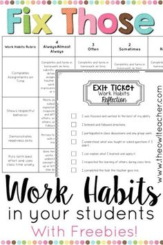 Help fix your students' work habits with these ideas and tips, along with freebies to help your classroom management with this important student behavior!