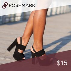 Black Chunky Platform Ankle Strap Heels These shoes are the perfect way to channel the 70s inspired trend of the season. There is a bit of wear on the sole of the shoe, but they still have a lot of life in them. Shoes Heels