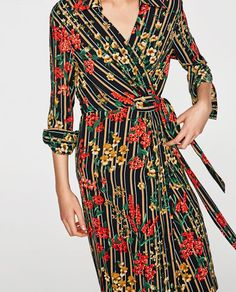 STRIPED AND FLORAL PRINT SHIRT DRESS-NEW IN-WOMAN | ZARA United States