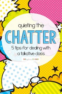 Quieting the Chatter: 5 Tips for Dealing with A Chatty Class 5 insightful tips for taking control of your chatty class. This post is AWESOME and includes free tools for all the suggestions! Classroom Management Strategies, Behaviour Management, Teaching Strategies, Teaching Tips, Classroom Procedures, New Teachers, Elementary Teacher, Elementary Schools, High Schools