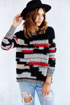 Ecote Patchwork Yarn Pullover Sweater
