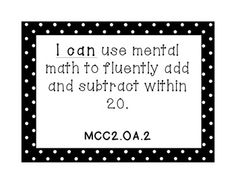 2nd Grade Math Common Core I Can Statements (Black and White)