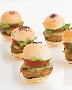 Candy Themed Bridal Shower  Comfort Cuisine  New York City caterer Peter Callahan (callahancatering.com) served up comfort foods, including these miniature turkey burgers, to satisfy guests' cravings for something savory.  @Martha Stewart Weddings Magazine