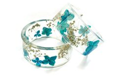 Blue real flower resin bangle resin bracelet by NThandmadeJewelry