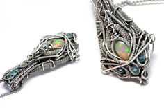 Futuristic Opal Rough Diamond Statement Necklace by Curtis Reynolds #hrgiger #giger #biomechanical #necklace