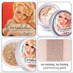 the Balm Overshadow - No Money, No Honey Meet the first finely milled, all-mineral shimmer designed to go over eyeshadow. Apply to the lid to transform the most subtle daytime shadow into nighttime shimmer. In: No Money, No Honey (shimmering gold), works well over browns, oranges & yellows. Also, for the adventurous, try the wet application as well as the dry application! (Plz, don't ask. Look it up on www) BNIB. Never used or swatched. 100% Authentic. No Trades, No PP. the Balm Makeup…