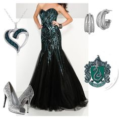 Slytherin Yule Ball Outfit VII by getmetohogwarts on Polyvore featuring Mon Cheri, Touch Ups, Amanda Rose Collection and Charriol