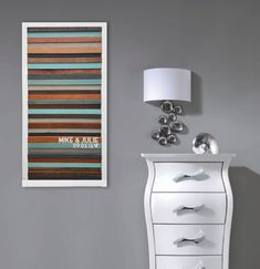 Custom Wedding Gift, Anniversary Gift - Reclaimed Wood Wall Art Copper and Teal