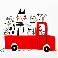 "Terry Runyan Art. Hey Barb...what should I draw today? ""A truck full of cats!""…"