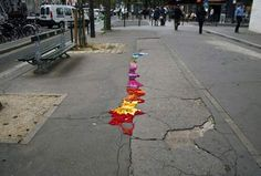 Restoring Pothole Deterioration with Yarn Art Installation