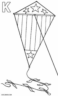 Printable Kite Coloring Pages For Kids