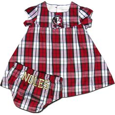 Girls Garnet Plaid Dress with Seminole Head and Bloomers Florida State  University ebab4c050aebb