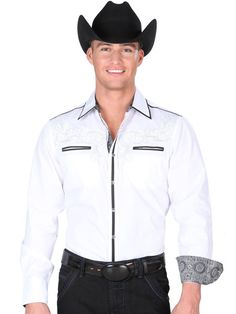 34244 Camisa Vaquera Caballero El General, 55% Cotton 45% Polyester - White