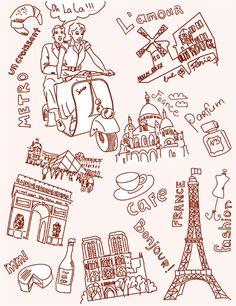 Vinilo decorativo dibujos de París 1