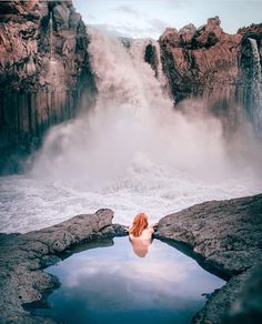 lying here for hours staring at the massive waterfall framed with basalt columns.Aldeyjarfoss Waterfall in Iceland Oh The Places You'll Go, Places To Travel, Travel Destinations, Places To Visit, Iceland Travel, Adventure Is Out There, The Great Outdoors, Wonders Of The World, Adventure Travel