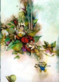 Reprodukce Brouček a Verunek - Jiří Trnka Animation Film, Ethereal, Childrens Books, Illustrators, Watercolor, Artist, Czech Republic, Painting, Insects