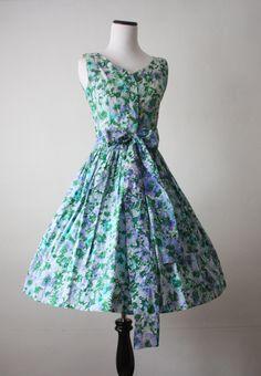 1950's dress - floral print 50's dress