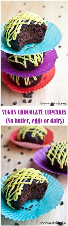 BEST vegan chocolate cupcakes ever! Soft, airy and tender... you won't believe these are made with NO eggs, butter or dairy! From cakewhiz.com