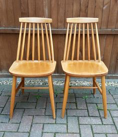Set 4 Vintage Stick Back Kitchen Dining Chairs Retro 60s 70s