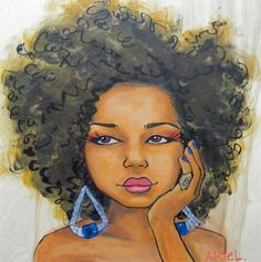 Stages of the natural hair journey painted by Keturah Ariel.