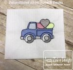 Truck with hearts sketch embroidery design