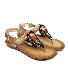 Woven Strap Flat Sandal with Beads