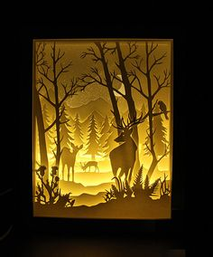 Silhouette paper cutting unicorn and fairy tale by trysogodar Kirigami, 3d Paper Art, Diy Paper, Paper Crafts, Shadow Box Kunst, Cadre Diy, Diy Shadow Box, Paper Cutting, Cricut