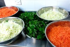 10kg of finely shredded cabbage and carrot soon to be transformed into a selection of crunch Vietnamese salads