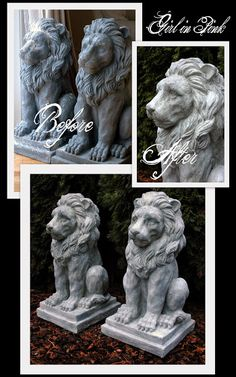 Artisan Enhancements Clear Topcoat Sealer was used to give these resin statues an Exterior Grade Finish.  Concrete look created with Chalk Paint® and Artisan Enhancements Fine Stone.  Full tutorial in blog post by Girl in Pink