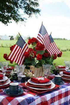 Patriotic table display.