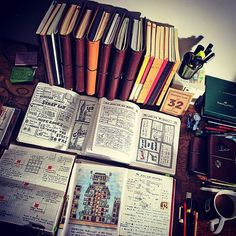 My desk. With elaborate plans for world domination.. and coffee. #travelersnotebook #traveljournal #leathernotebook #leatherjournal #notebook #journal #planner #stationery #artjournal #bulletjournal
