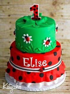 Cute lady bug and garden cake