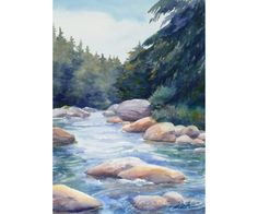 River Painting Watercolor Landscape Art White by JanetZeh on Etsy