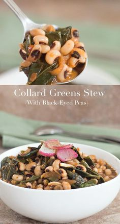 My vegan collard greens stew with black eyed peas is the perfect dinner meal. Packed with vitamins and nutrients. Healthy, hearty stew for the whole family