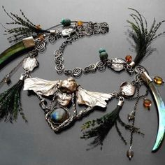 Valkyrie | Silver Gemstones & Peacock Feathers Necklace - product images  of SCHJ  www.silverchamber...