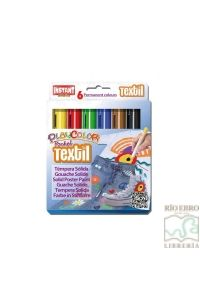 TEMPERA SOLIDA INSTANT PLAYCOLOR TEXTIL 6 COLORES