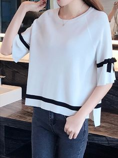 Round Neck Contrast Piping Plain Half Sleeve Sweaters Pullover – wanokitty pullover outfit jeans athletic pullover with jeans athletic pullover hoodie Jean Outfits, Sweater Outfits, Outfit Jeans, Neck Pattern, Cheap Fashion, Comfortable Outfits, Half Sleeves, Pullover Sweaters, Fashion News