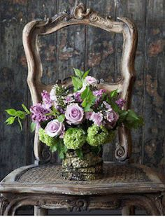 LaurieAnna's Vintage Home: Summer Flowers, Fragrances and Smiles - Farmhouse Friday #26  Love this arrangement including the chair