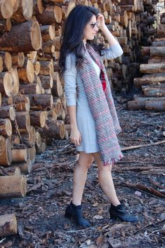 Falling for fall fashion with an oversized scarf, grey dress and some little boots!