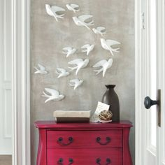 Set of Five Birds of Flight Wall Art - Traditional - Artwork - by Grandin RoadBirds of Flight Wall Art from Grandin Road. Like them, but really also like the stain-color of the dresser.Create an instant work of art with our Birds of Flight wall hangi Bird Wall Art, Metal Tree Wall Art, Wall Décor, Ceramic Wall Art, Ceramic Birds, Deco Design, Design Case, Interior And Exterior, Interior Design