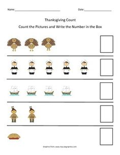 Five days of Thanksgiving-themed counting practice. Great for early elementary or special education.