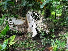 Plane wreckage is part of the discarded instruments of war.