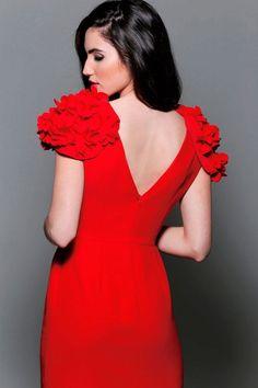 db180fce3 comprar online vestido de fiesta rojo corto con mangas de alas con flores  para boda evento