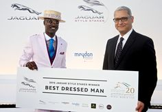 The Dubai World Cup's Best Dressed Man, Marlon Weir, winner for a second consecutive year smiles with The Meydan Hotel's General Manager, Mohamed Aghoury Dubai World, Best Dressed Man, Jaguar, World Cup, Nice Dresses, Competition, Management, Style