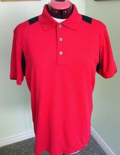 PGA Tour Golf Apparel Men's Red Polo Shirt Size L Lightweight Airflux Sports Fit | eBay