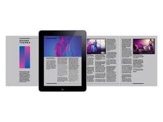 TONE - iPad magazine by Steven Larkin, via Behance Tablet Ui, Tablet Phone, Ui Design, Layout Design, Page Layout, Book Layouts, Publication Design, Digital Magazine, Magazine Design