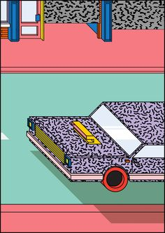 Peter Judson - Town Planning. He's a Designer and Printmaker based in London. Between Memphis Group, 8-bit video-games, Lego and postmodern aesthetics, his axonometric illustrations of domestic interiors, architectural details and vehicules resonate in an atemporal bold primary colour palette.