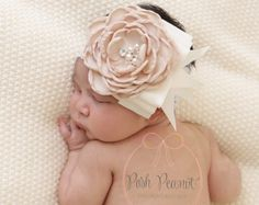 ivory flower girls headband cream baby headband by PoshPeanutKids